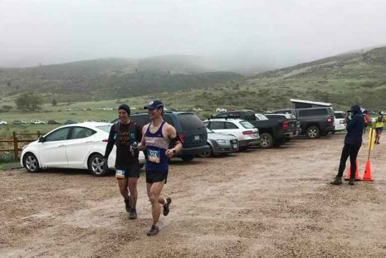 Felix Wong running into Soldier Canyon in Lory State Park at the halfway mark of the 2018 Quad Rock 50.