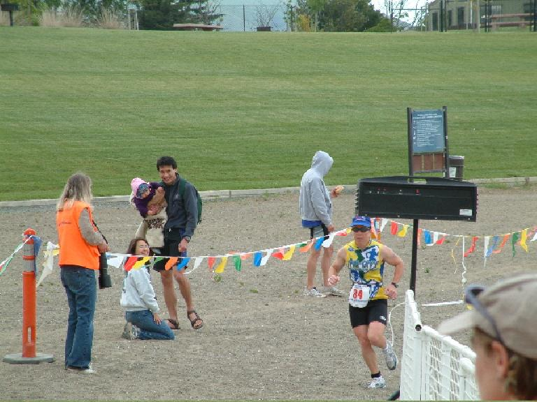 Sharon coming in on the run.  She came in 2nd in her age group and 4th woman overall. Photo: Peter.