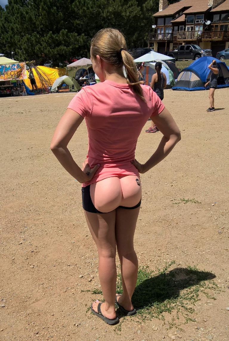 """Krista wearing a """"bare butt"""" for Team Bear Butts."""