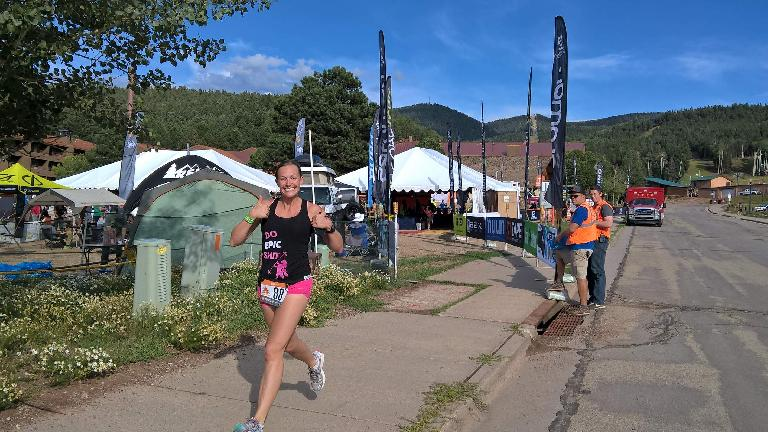 Krista starting Loop 4 of the 2016 Ragnar Trail Angelfire relay.