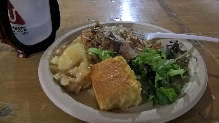 A tasty dinner of apple strudel, cornbread, salad, wild rice and roasted chicken at 2016 Ragnar Trail Angelfire.