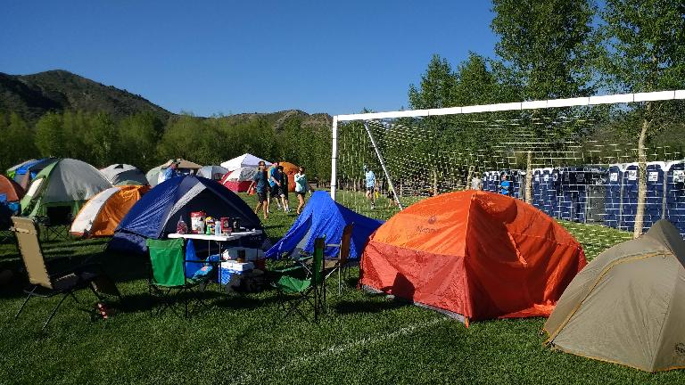 Our tents at the Ragnar Snowmass village.
