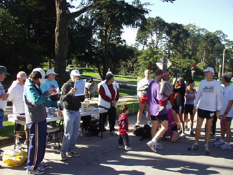 Awards were given at the end to the top 5 males and females.  One of the top males included this guy who was pushing a baby stroller during the race!  He was one of those who passed me at Mile 0.75.