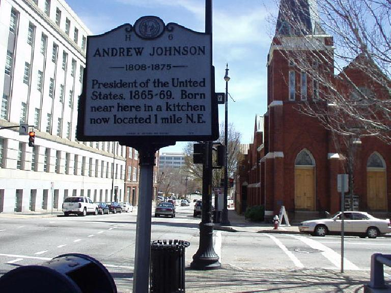 Signs like this one dot the streets all over in the Triangle area.  This one proclaims that Andrew Jackson was born in this region.