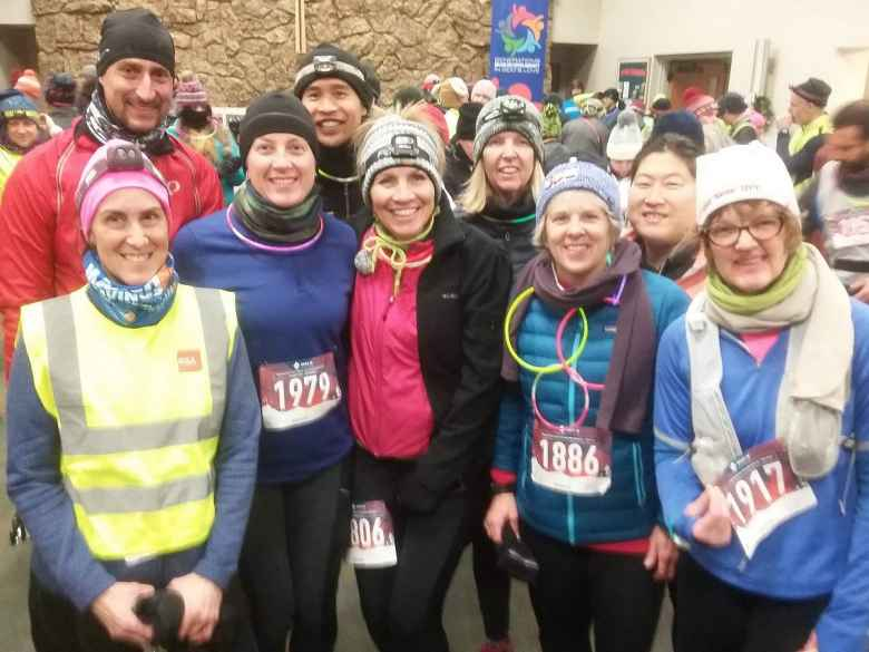 Wolfgang, Crisann, Jill, Felix, Tammi, Cathy, Joyce, Hannah, and Jen inside before the start of the Resolution Run.