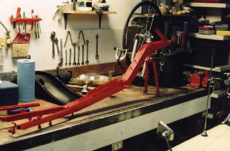 red frame, Reynolds Wishbone recumbent