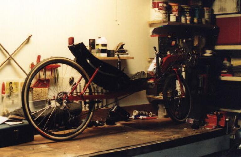 red Reynolds Wishbone recumbent, assembled