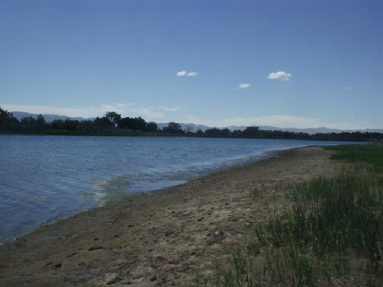 A beach at Richards Lake in Fort Collins.