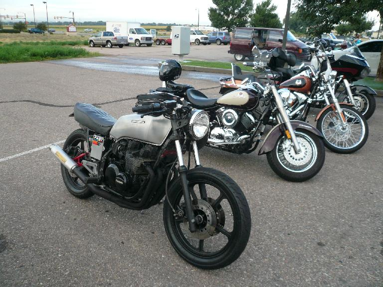 An early 80s Kawasaki KZ700 cafe racer owned by a guy named Scott.