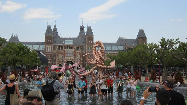 Band playing in a fountain in front of Rijksmuseum. (August 2, 2013)