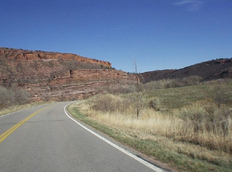The red rock of Horsetooth Mountain Park.