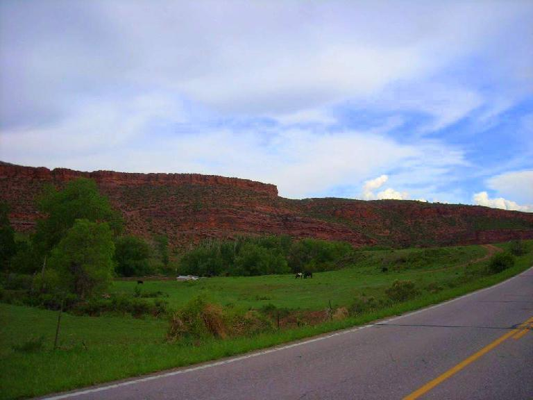 Shades of Sedona with lots of red rock west of Masonville.  I've never seen it so green out here.