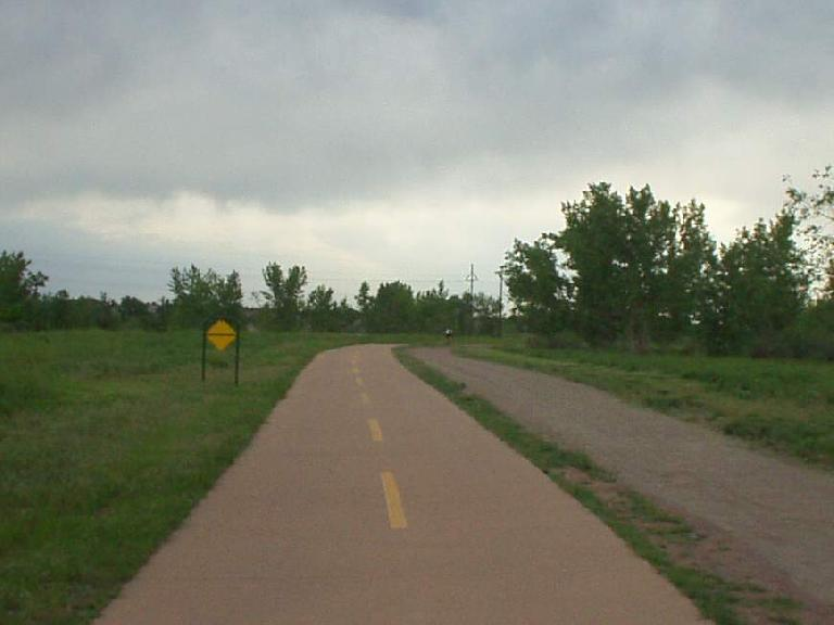 [Mile 184, 7:01 p.m.] On the Platte Greenway in Littleton.
