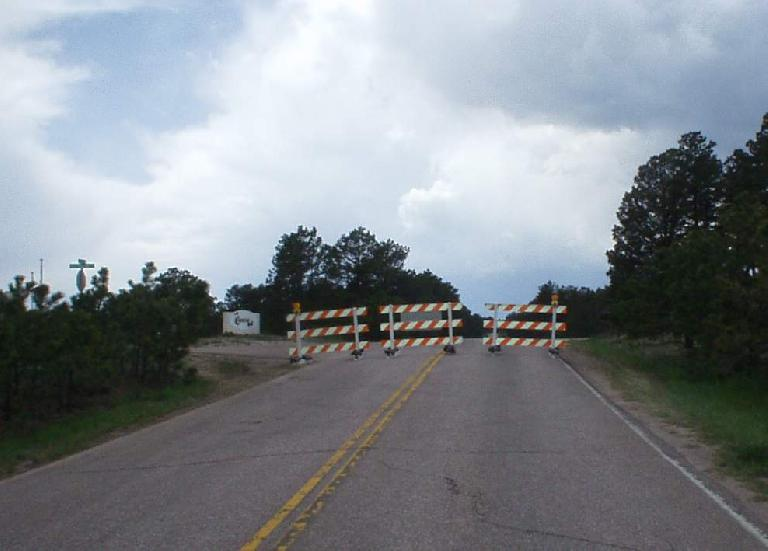 [Mile 113, 2:02 p.m.] Ayer Rd. was closed to cars, but no problem for a bicycle!