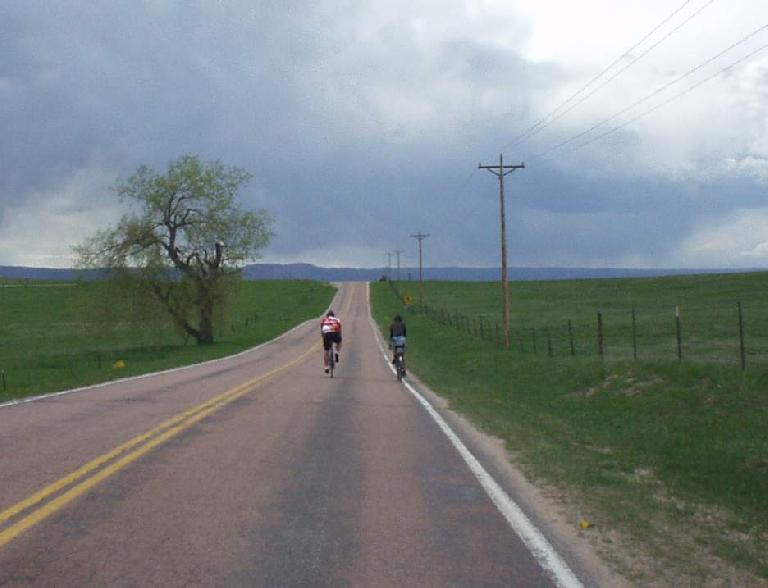 [Mile 128, 3:18 p.m.] Briefly following a couple of other randonneurs through along countrysides.
