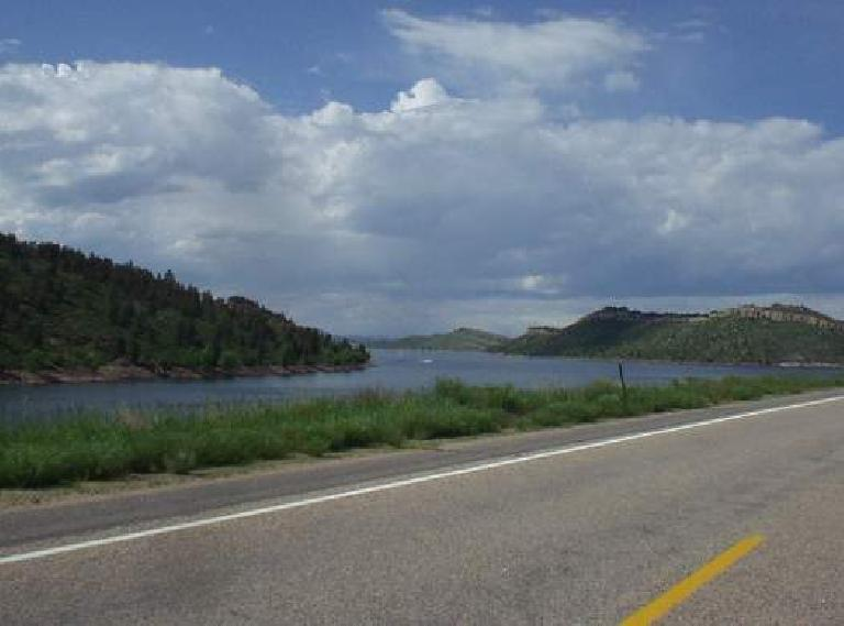 [Mile 160, 4:11pm] Woohoo!  Now in Fort Collins.  The Horsetooth Reservoir was a familiar sight.