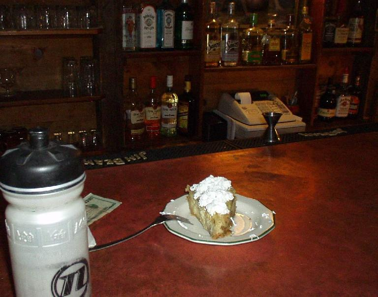 "[Mile 90, 11:06 a.m.] Here I had a piece of banana creme pie -- ""one of the best pieces of pie I've ever had"" I remarked on my way out."