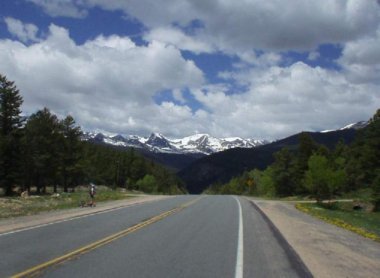 [Mile 97, 11:34 a.m.] Glorious world-class descent on Hwy 7 through St. Vrain Canyon!