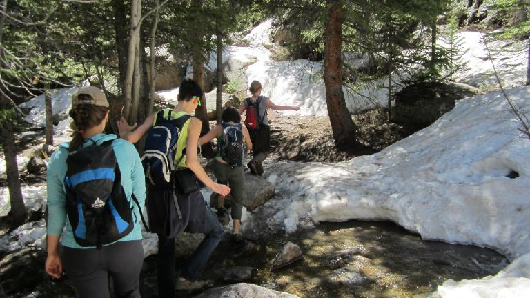 We were somewhat surprised to see there was so much snow still up here considering how warm it was.