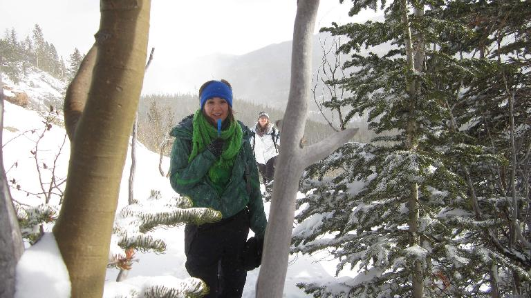 Diana after snowshoeing up another steep hill.