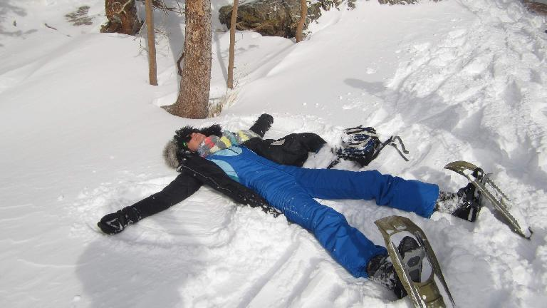 Casey making snow angels.
