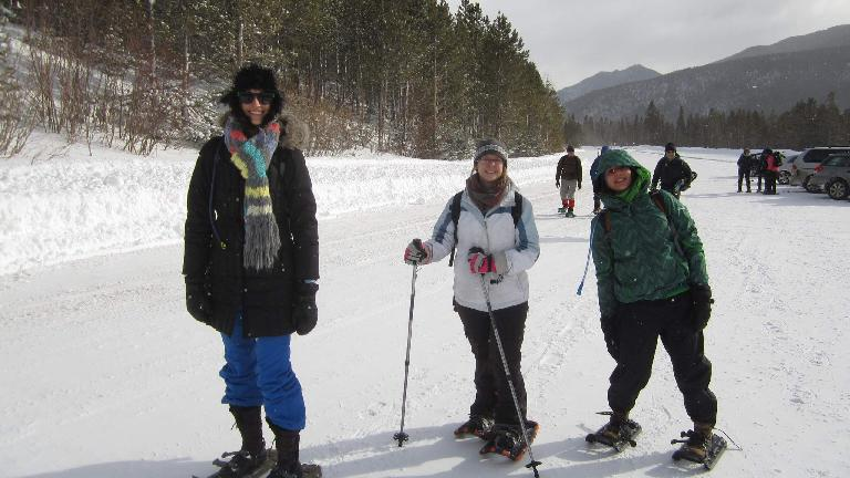 Casey, Kyla, and Diana at the parking lot of Bear Lake in the Rocky Mountain National Park.