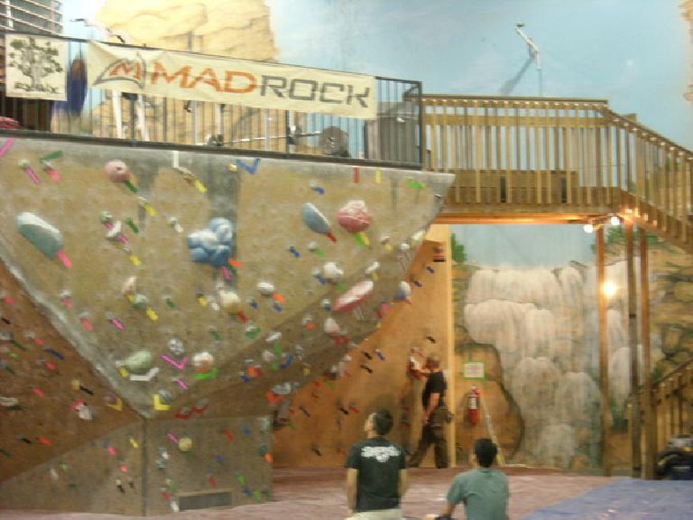 The bouldering area inside the Rock'n & Jam'n Gym in Thornton, CO.