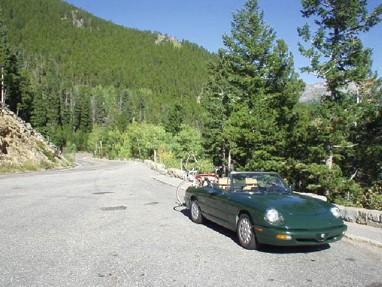 The Alfa among the pine and aspen, which were just beginning to change colors.