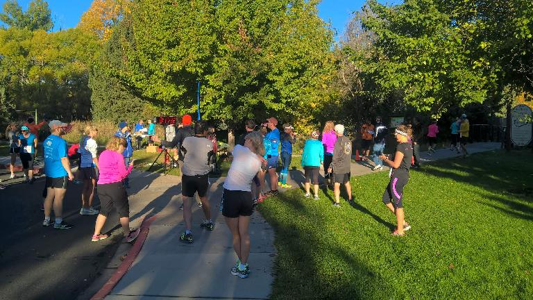 Runners at the start of the 2016 Rolland Moore Park 4k Tortoise & Hare race.