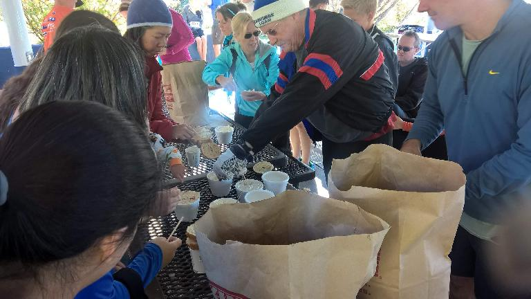 Self-serve bagel breakfast after the 2016 Rolland Moore Park 4k Tortoise & Hare race.