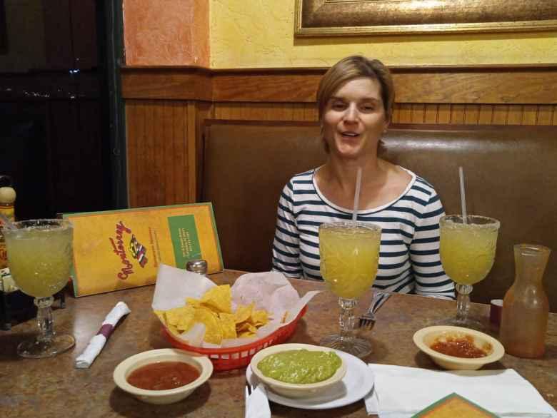 Mel enjoying margaritas at the Monterrey Mexican Restaurant in Columbia, South Carolina.