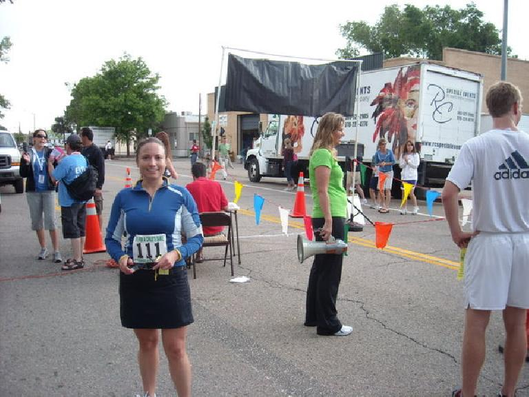 Raquel at the finish after a good run.