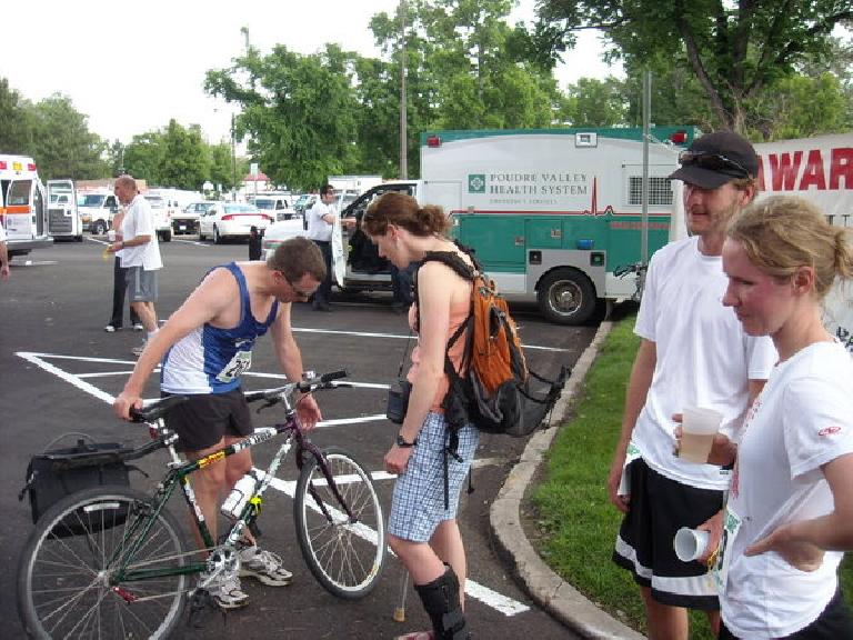 Scott on his bike, Kerry, and Jason.