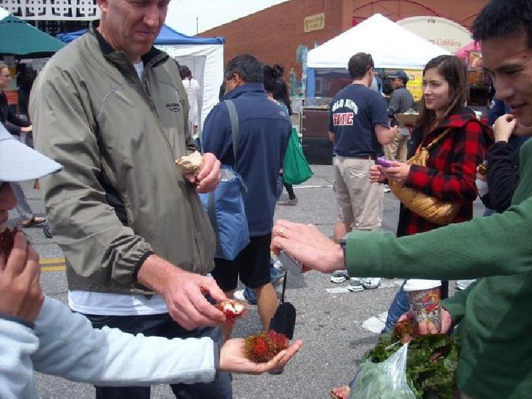 Eating Rambutans grown in Palm Desert at the Palo Alto Farmers' Market.