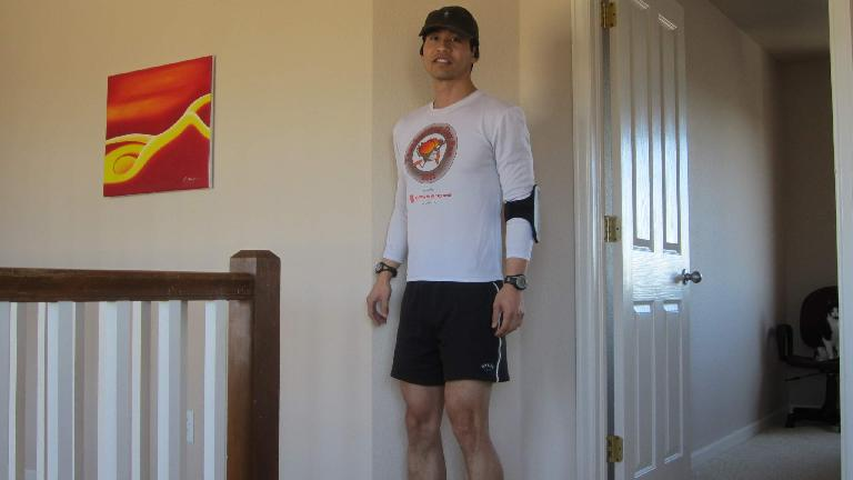 Ready to run while wearing five electronic gizmos.