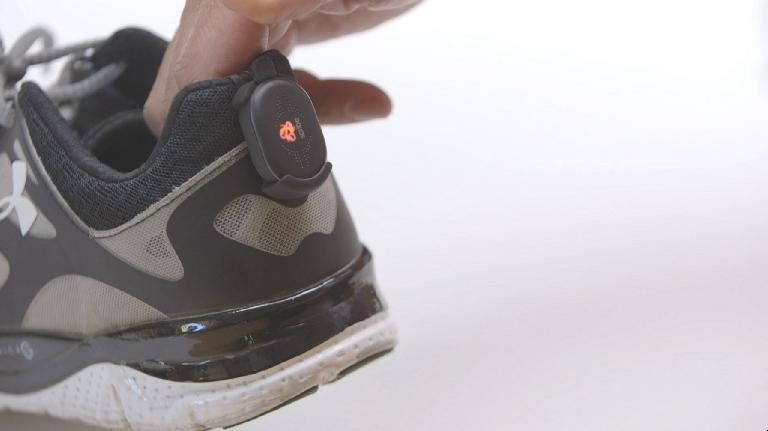 The runScribe device clips on to the back of your shoe.