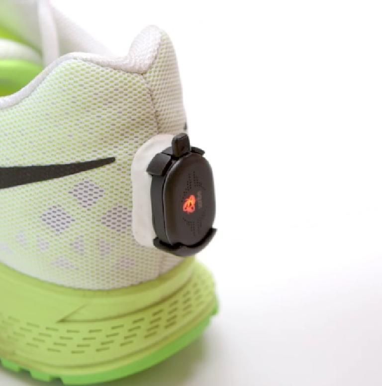 Alternatively, the runScribe device can be bonded to the back of your shoe. Photo: Scribe Labs.