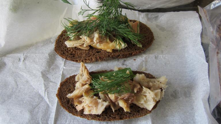 Fried fish with dill on rye bread.  So good.