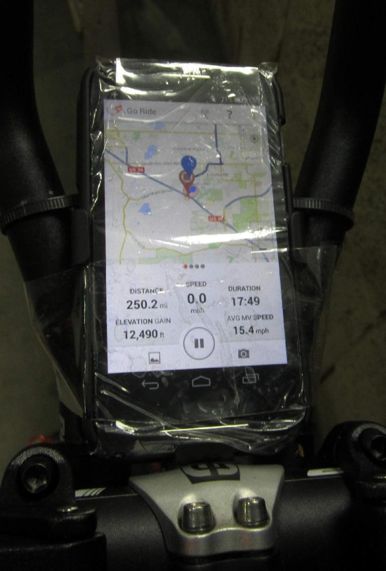 Motorola Moto E, RideWithGPS, data for Rustic 400km Brevet