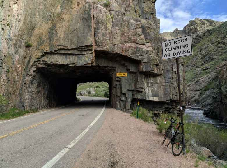 Mile 27: My Litespeed Archon C2 in front of the Baldwin Tunnel in the Poudre Canyon.