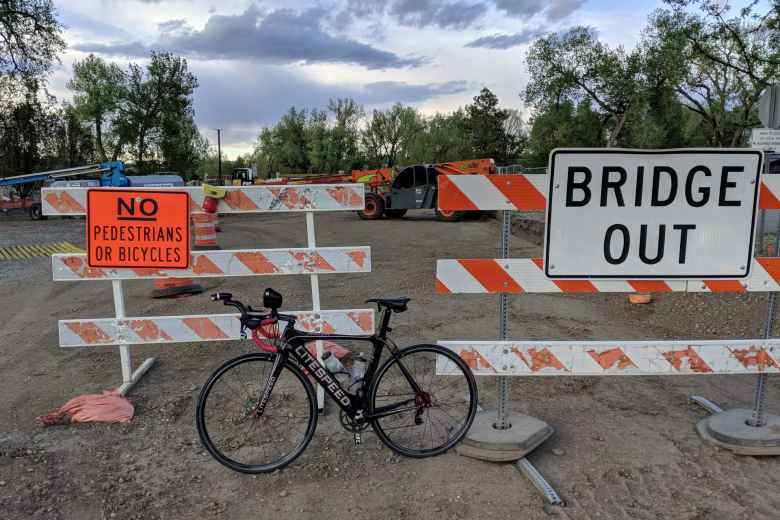 Mile 181: Bridge out! Here in Loveland, I had to backtrack a mile because of this issue.