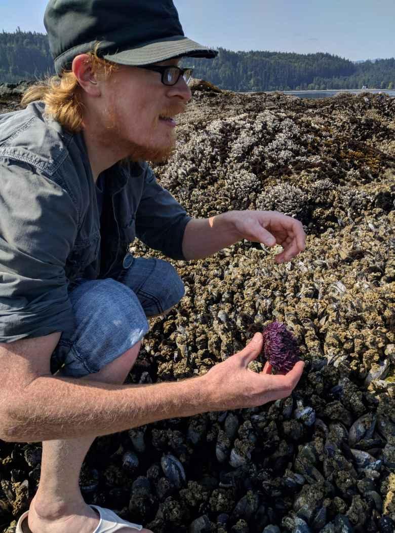 Russ holding a sea urchin at Salt Creek County Park.