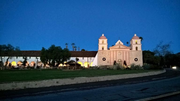 Mission Santa Barbara before sunrise.