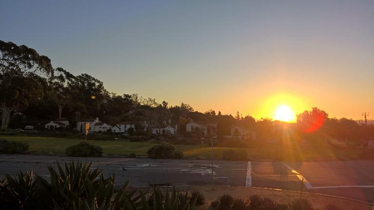 Sunrise across the street from Mission Santa Barbara.