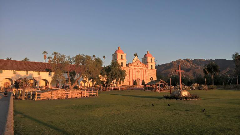 Mission Santa Barbara at sunrise.
