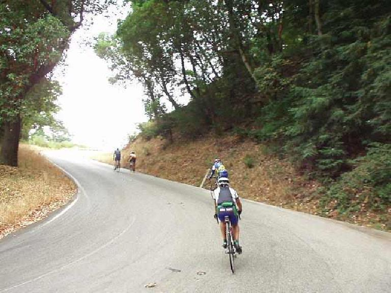[Mile 26 (official route mileage), 9:42am] Now back on course, here's one of the steeper climbs: Summit Rd.