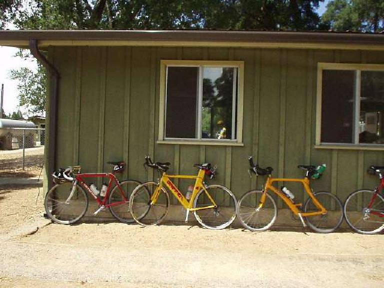 [Mile 65, 1:53pm] Our bikes: Canny and Steve and Everitt's tri bikes.