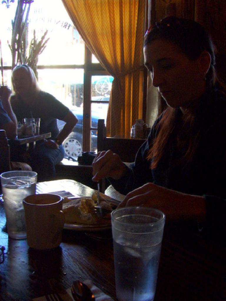 Tori enjoying her breakfast at the creperie.