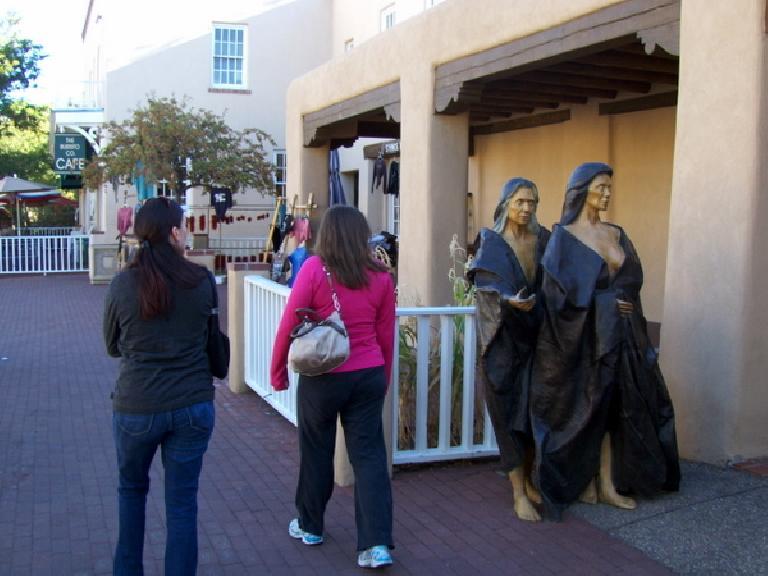 Walking through the historic downtown area of Santa Fe.