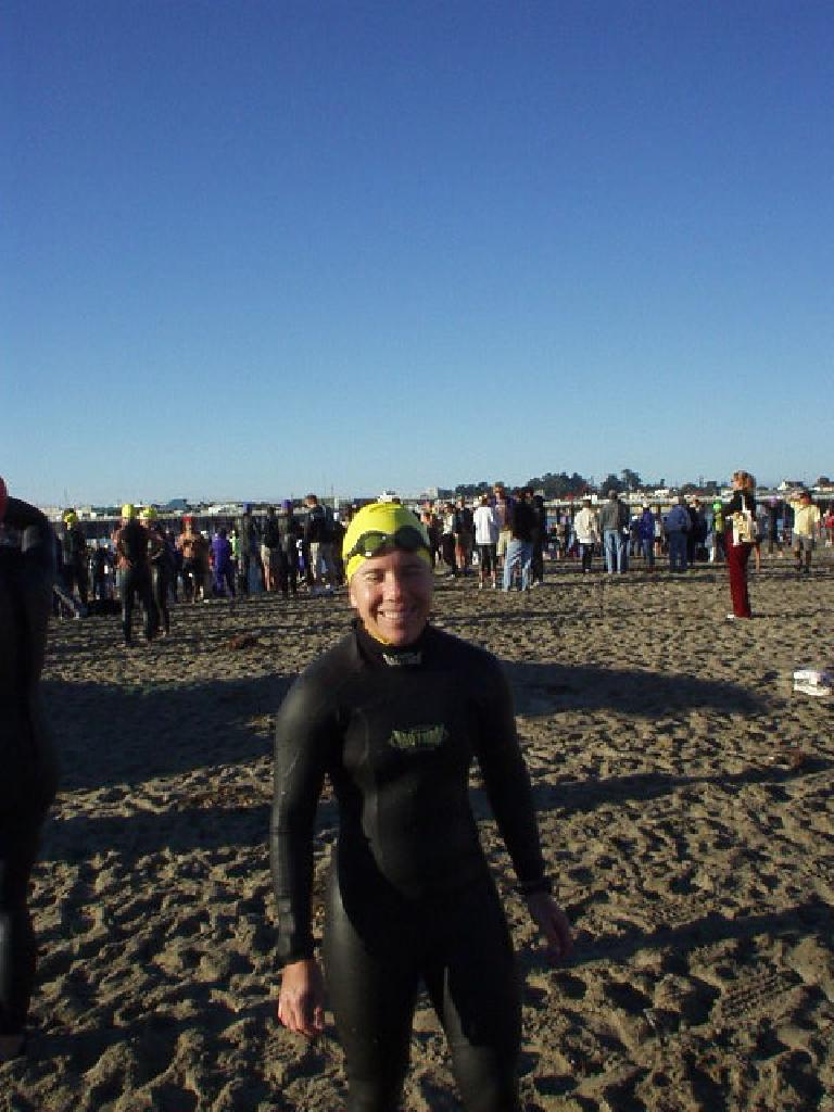 "My own season being over, I went up to cheer Lisa and Sharon on in the Santa Cruz Sentinel Triathlon (olympic distance).  Here's Sharon after testing out the water.  ""My face was really cold!"" she reported."